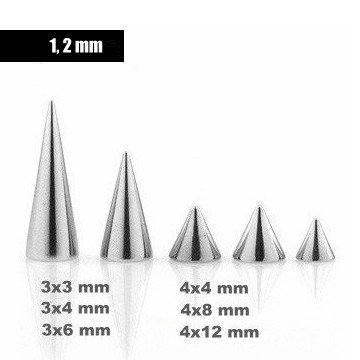 1,2 mm Piercingkegeln - 6 Größen