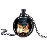Schwarze Halskette mit Glasanhänger Katze