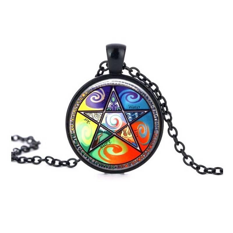 Schwarze Gothic Halskette mit Pentagramm