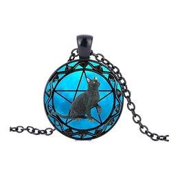 Halskette Katze mit Pentagramm