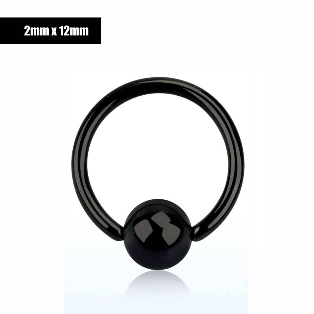 2 mm Hafada Piercing  schwarz  mit 8mm Kugel