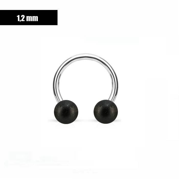 1,2 mm Hufeisen Ring schwarz mattiert