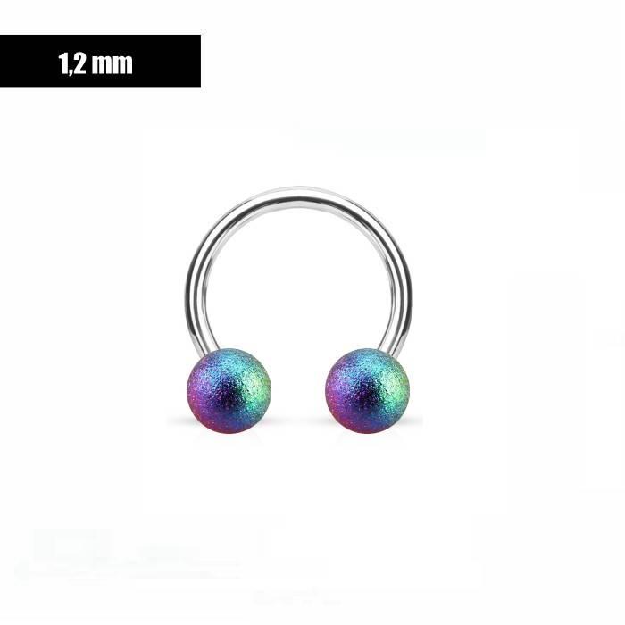 1,2 mm Hufeisen Ring multicolor mattiert