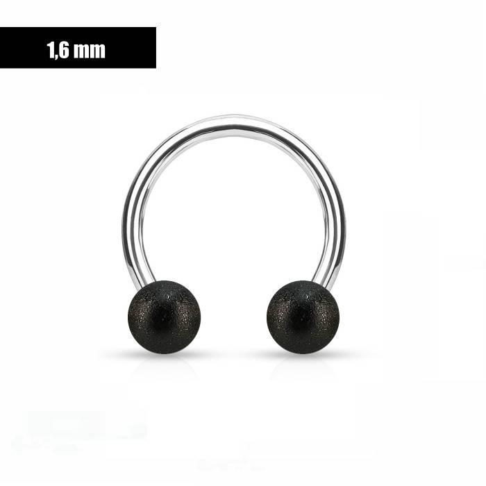 1,6 mm Hufeisen Ring mit schwarzen Kugeln