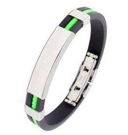 Kautschuk Armband schwarz - grün