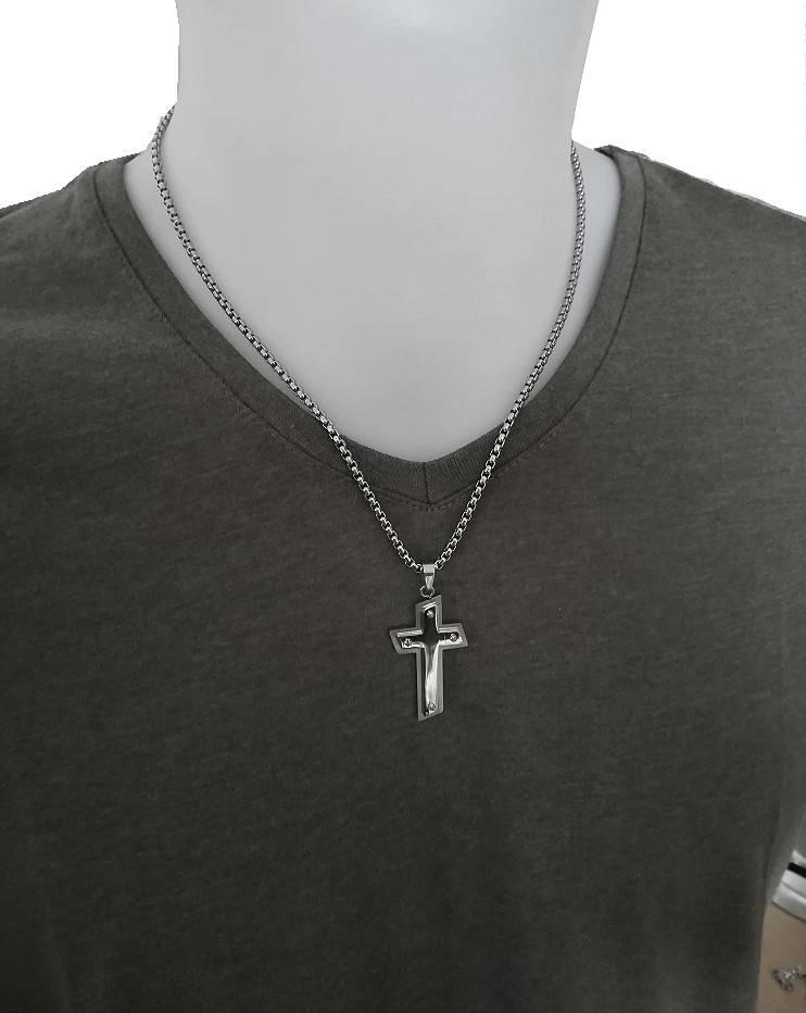 Edelstahlanhänger Kreuz | Männerschmuck