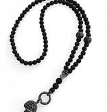 Lange schwarze Halskette mit Totenkopf Anhänger
