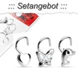 3er Set Nasenpiercing mit Motive aus 925 Silber