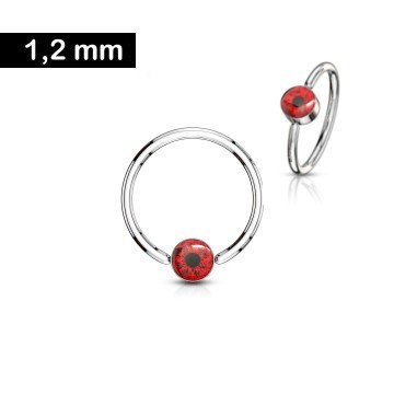 Piercing Ring mit rotem Auge - 1,2 x 10 mm