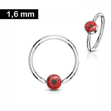 Piercingring mit rotem Auge - 1,6 x 12 mm