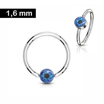Piercing Ring mit blauem Auge - 1,6 x 12 mm