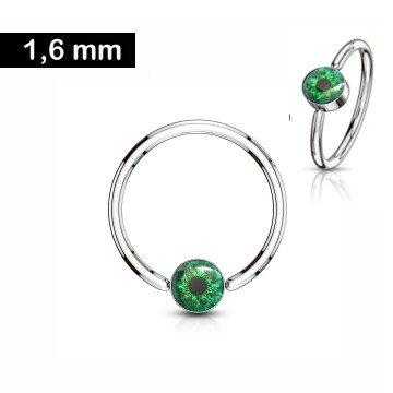 Brustpiercing Ring mit grünem Auge - 1,6 x 12 mm  - Copy