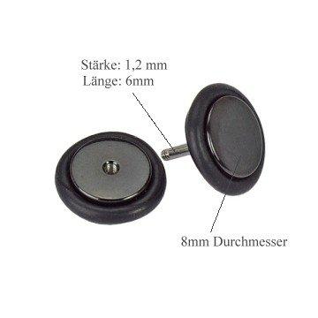 8mm Fake Plug Ohrring - 5 Farben