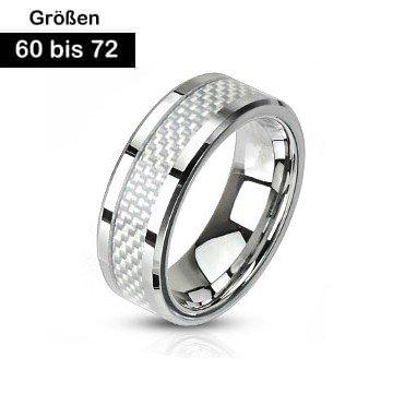 Herren Edelstahl Ring mit Carbon Inlay