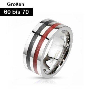 Edelstahl Ring für Herren mit Carbon Einlage