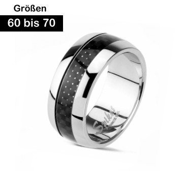 Edelstahl Ring mit Carbon Einlage