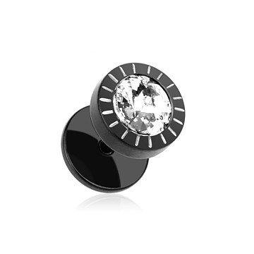 8mm schwarzer Ohrstecker mit Stein