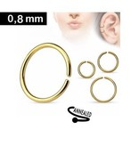 0,8mm Piercing Ring goldfärbig zum aufbiegen