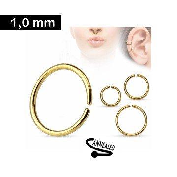 1mm Nasenpiercingring goldfärbig
