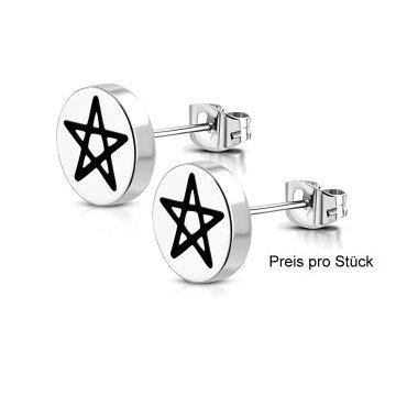 Ohrstecker 316l Edelstahl Pentagramm