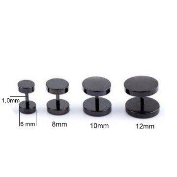Schwarze Edelstahl Fake Plugs - 6 | 8 | 10 | 12mm lieferbar