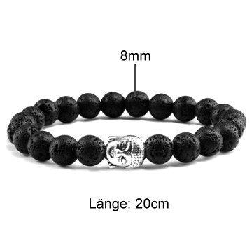 Schwarzes Lava Armband mit Buddha