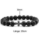 Schwarzes Perlen Armband Lava