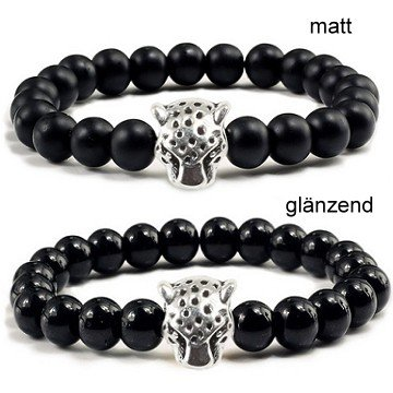 Schwarzes Perlen Armband Leopard