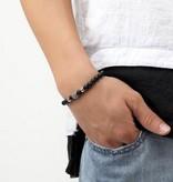 Schwarzes Perlen Armband mit Stein