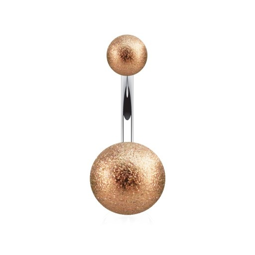 1,6 mm Rosegold Bauchnabelpiercing Frosted Ball