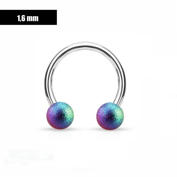 1,6 mm Hufeisen Ring multicolor mattiert