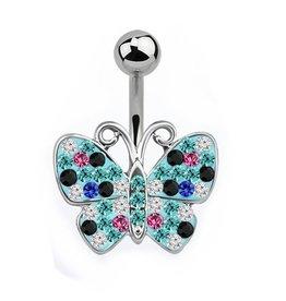 Bauchnabelpiercing Schmetterling Türkis