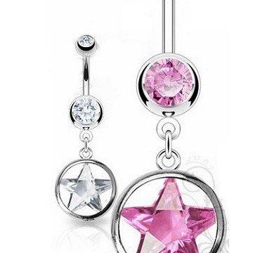 Stern Bauchnabelpiercing rosa und kristall