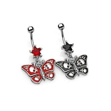 Gothic Bauchnabelpiercing mit Schmetterling