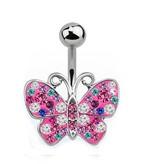 Buntes Bauchnabelpiercing Schmetterling