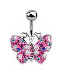 Bauchnabelpiercing Schmetterling Pink