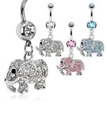 Bauchnabelpiercing Elefant - 3 Farben