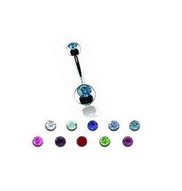 Bauchnabelpiercing mit 2 Zirkonia - 10 tolle Farben