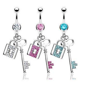 Bauchnabelpiercing mit Schlüssel - 3 Farben