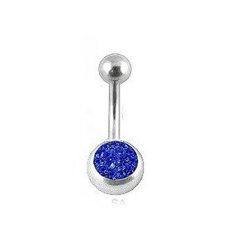 Bauchnabelpiercing mit blauen Glitzerstein