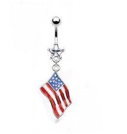Bauchnabelpiercing Flagge USA