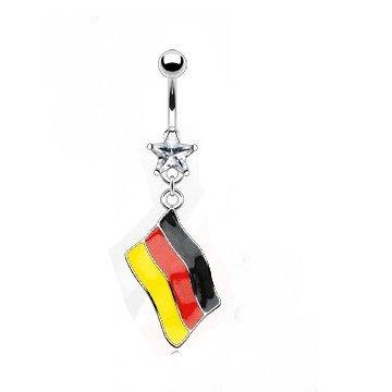 Bauchnabelpiercing Flagge Deutschalnd