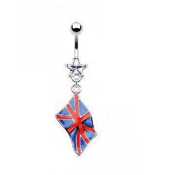 England Flagge Bauchnabelpiercing