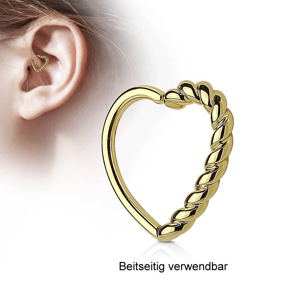 Daith Piercing Herz goldfärbig
