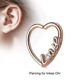 Daith Piercing Herz rosegold zum aufbiegen