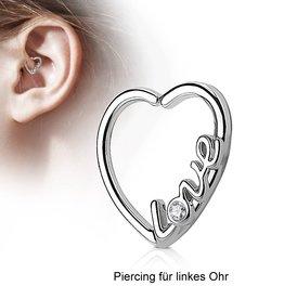 Daith Piercing Herz mit Aufschrift Love