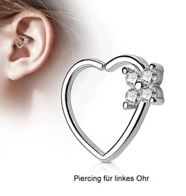 Herz Daith Piercing mit Blume