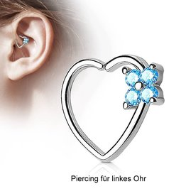 Herz Daith Piercing mit türkiser Blume