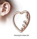Herz Daith Piercing rosegold zum aufbiegen