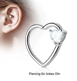 Daith Piercing Herz kristall